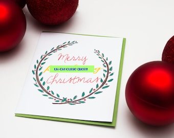 Funny Adult Holiday Card, Merry Fing Christmas, Naughty Holiday Illustrated Card