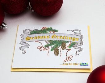 Funny Adult Holiday Card, Naughty Christmas Card Seasons Greetings & all that shit