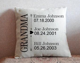 Grandparents Gift, Grandma Pillow Cover, Personalized Pillow Case, Grandma, Grandpa, Birth Announcement, Family Cushion Cover, Keepsake Gift