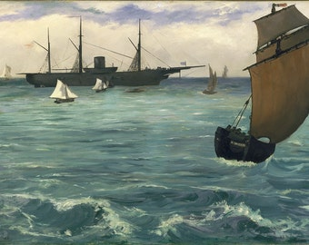 Edouard Manet: Fishing Boat Coming in Before the Wind. Fine Art Print/Poster (00675 )
