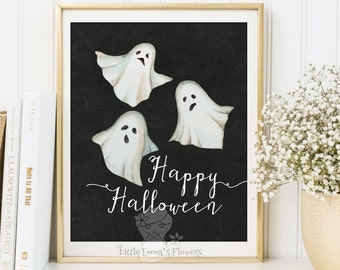 printable happy Halloween art ghost print decoration party decor poster autumn quotes printable fall digital holiday Halloween decor 3-60