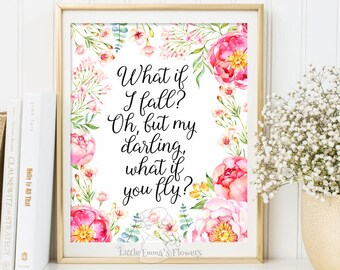 What if I fall? Kids Wall Art Quote Print wall decor inspirational quotes printable nursery decor Motivational quote art Positive Art 3-64