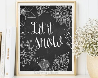 Christmas wall art holiday print instant download printable let it snow print holiday art decor Christmas wall decor quote print wall art
