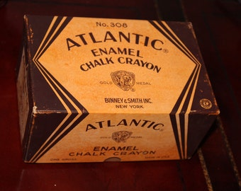 Vintage Atlantic Chalk Box Binney & Smith Inc. Chalk Crayons