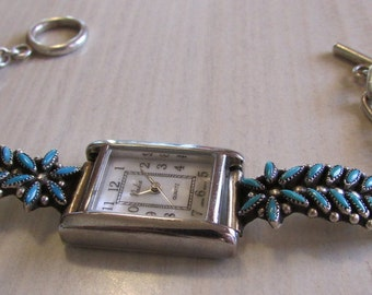 Zuni Sterling Silver and Turquoise Needlepoint Watchband