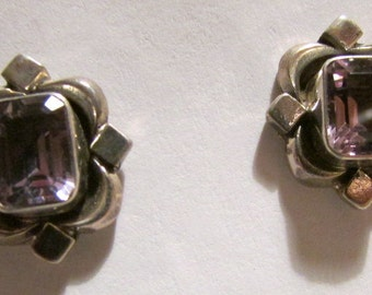 Sterling Silver and Amethyst Post Earrings