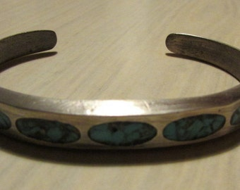 Sterling Silver and Chip Inlay Turquoise Cuff Bracelet