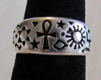Sterling Silver Band Ring with World Religous Symbols Size 5 1/2
