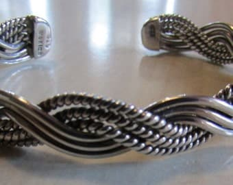 Sterling Silver Braided Cuff Bracelet from Mexico