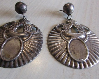 Large Sterling Silver Dangle Post Earrings from Mexico