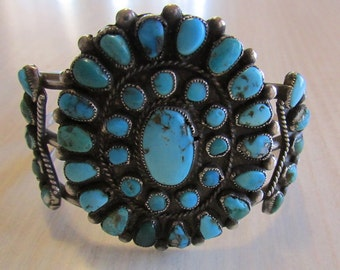 Vintage Native American Sterling Silver and Turquoise Cluster Bracelet