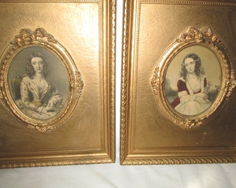 Antique Gold Framed Pictures Victorian Woman Oval Slightly Colored