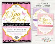 Spa Party Invitation / Spa Birthday Party Invitation / Spa Party Invite / Elegant Spa Party Invitation / Manicure Pedicure Party / PRINTABLE