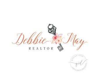 Premade realtor logo real estate agent logo logo for property business watercolor floral key logo vintage key logo calligraphy logo