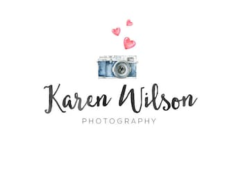 Premade logo  Photography Logo  Heart Logo  Watercolor Logo  Watermark  Logo Design  Blog Header
