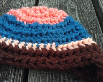 Baby Peach, Blue, Light Pink and Brown Earflap, Pom Pom Soft Winter Hat