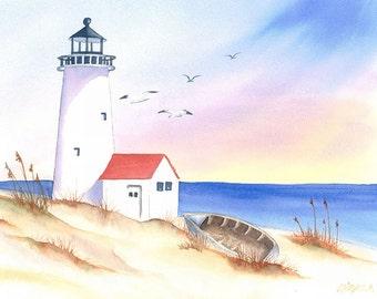 Watercolor Painting Lighthouse Coastal Wall Art Home Decor 8x10 Watercolor Beach Seascape Print