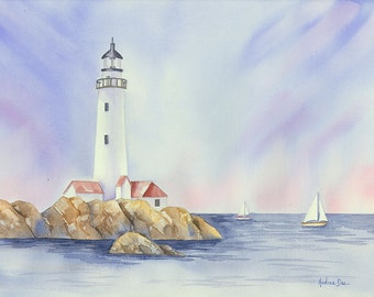 Watercolor Painting Lighthouse on Rocks 8x10 Print