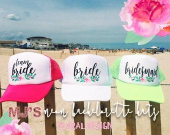 NEON Bachelorette Party Hat / Floral Design Neon Trucker Cap / Pool Party / Vegas Miami / Beach Vacation / Bridesmaid Hat / Customizable