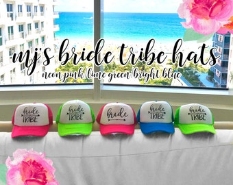 NEON Bachelorette Party Hat / Cute Design Arrow Trucker Cap / Pool Party / Vegas Miami / Beach Vacation / Bridesmaid Hat / Maid of Honor