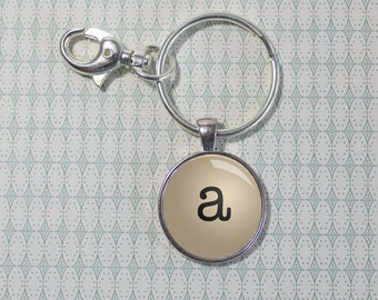 Typewriter Letter Key Chain - Silver - Keychain - Initial - Monogram - Key Ring (F5800)