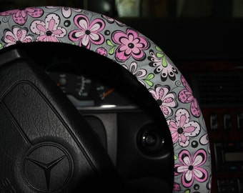Floral Pink and Gray Steering wheel cover -Girls wheel cover - Car accessories - Women's wheel cover .