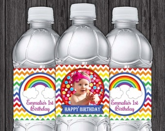 Rainbow Water Bottle Labels - Printable Rainbow Birthday Party Decorations - DIY Digital File