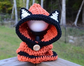 Fox Hood Cowl, Flint Fox Cowl, Fox Cowl, Fox Hat, Hooded Cowl