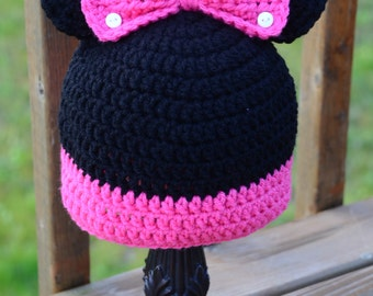 Crochet Minnie Mouse Hat, Minnie Mouse Hat, Crochet Minnie Hat