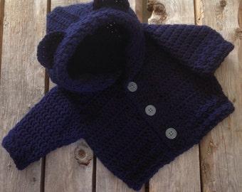 Baby sweater, crochet baby sweater, Baby Bear Sweater, Bear sweater, Baby cardigan