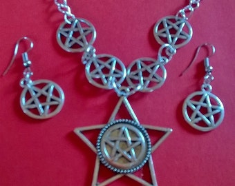 Star witch pentacle necklace & earrings