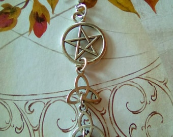 Celtic Triquetra pendant earring Wiccan pentacle woman
