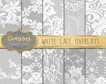 White Lace Overlays, transparent digital paper scrapbooking clip art embellishments, floral shabby chic lace PNG vintage lace clipart