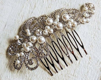 Diamante & Pearl Filigree Vintage Luxury Hair Comb - Sparkling - Highest Quality - Wedding Accessories