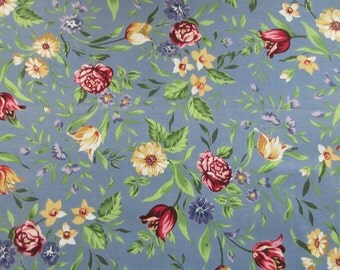 Spring Floral Fabric - Daisies Tulips Roses - 100% Cotton - 1 Yard Only