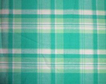 "Large Green Plaid Cotton Fabric Piece - 26""x42"""