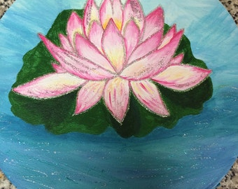 Round sparkly lotus  flower on canvas