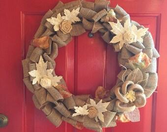 """Burlap Fall Wreath 18"""""""