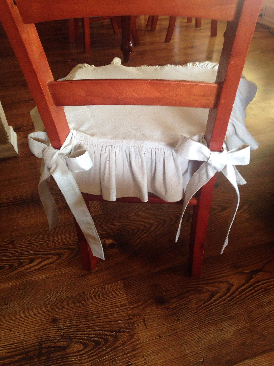Drop Cloth Chair Seat Cover With Back Ruffle And Wide Ties