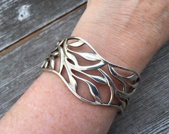 Sterling leaf cuff bracelet - 623