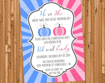 Fall Pumpkin Gender Reveal Party Invitation (Printable)