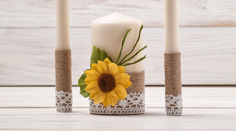 Wedding Candles: Unity Candle Set Sunflower Wedding Unity Candles Wedding