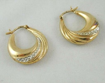 9ct Yellow White Gold Pleasing Pair Creole Style Hoop Earrings 2.7 Grams