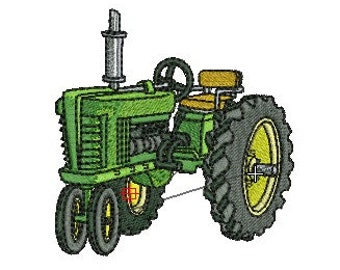 tractor machine embroidery design 2 size 4x4 and 5x7 Instant Digital Download