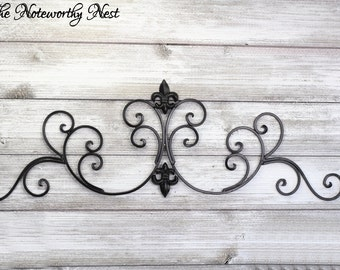 ANY COLOR Wall Decor / Black Decor / Iron Wall Scroll // Accent Piece // Window Topper // Headboard Accent Piece // Iron Scroll Wall Hanging