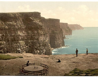 Cliffs at Moher. County Claire. (i.e. Clare), Ireland] 1890. Vintage photo postcard reprint 8x10-up. Ireland County Clare