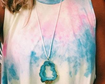 Aqua Druzy Wrap Necklace