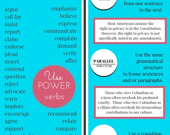 WRITING CHEAT SHEET: Student and Writer's Companion Handout/Poster, Full Color Printables