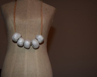 Clay Bead Necklace- Handmade Pearlized White