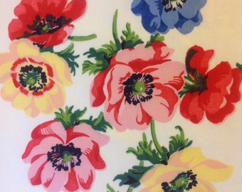 Vintage linen tea towel with bright colored flowers, floral kitchen towel, retro kitchen